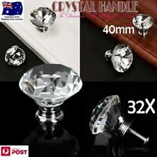 32 X 40mm Round Diamond Clear Glass Door Pull Drawer Knob Handle Cabinet
