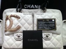 Chanel White Ligne Cambon Quilted Python Reporter Bag - EUC