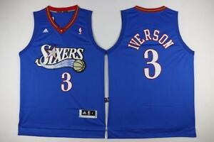 Allen Iverson Philadelphia 76ers 3 BLUE NBA Basketball Swingman Jersey shirt