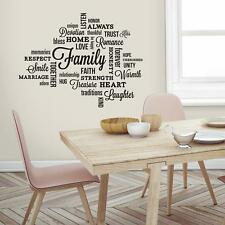 FAMILY QUOTE WALL DECALS Black Words Stickers Deco Quotables Home Decor