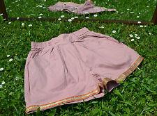 Womens Design Vtg 70s Retro Cotton Tailored Pale Pink Crop Pants Shorts sz S Q39