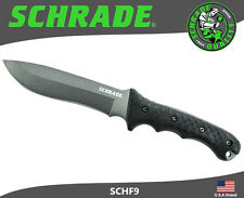 Schrade Fixed Blade Knife Survival Full Tang 1095 Carbon TPE Handle Pouch SCHF9