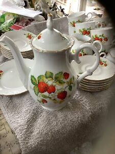 M Z Czechoslovakian porcelain  Strawberry Design teapot.