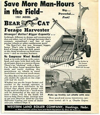 1951 Western Land Roller Co Bear Cat Forage Harvester Farm Tractor Print Ad