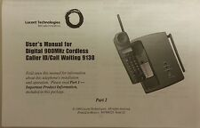Lucent AT&T Cordless Telephone Model 9130 User's Manual