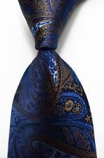 New Classic Paisley Dark Blue Brown JACQUARD WOVEN 100% Silk Men's Tie Necktie