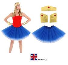Ladies Girls SUPERHERO COSTUME Diana Wonder Woman Fancy Dress Cosplay Outfit UK