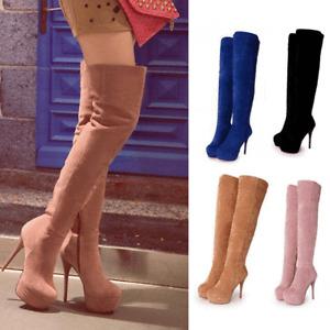 Autumn Winter Women Over The Knee Long Boots Zipper Platform High Heel Shoes New