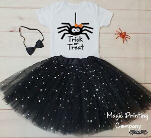 Girls Halloween Spider Costume Outfit Dress Tutu  T-shirt Top Fancy Dress UK