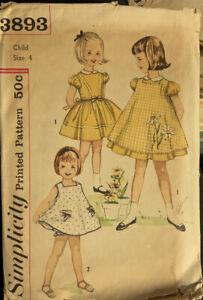 Vtg Simplicity Pattern 3893 Girls Dress, Pinafore Panties Flower Transfer Sz 4