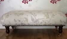 A Quality Long Footstool In Laura Ashley Summer Palace Taupe Ivory Fabric