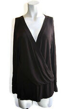 Laundry By Shelli Segal Women's Long Sleeve Faux Wrap Top Size Lrg Brown Rayon