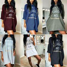 Ladies Women's Chic Like Coco Slogan Print Oversized Shirt Mini Dress Top