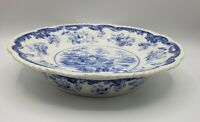"Staffordshire Transferware ""Chinese Marine"" warming dish 10 3/4"" Antique B & S"