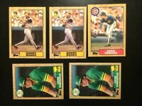 1987-Topps 5 Baseball Cards, Barry Bonds, Canseco,Greg Maddux-NM-MT-FREE SHIP