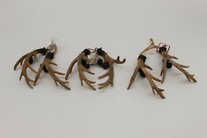 Lot of 3 New Christmas Tree Holiday Hanging Ornament Deer Antler Lodge W/Bells