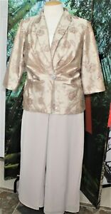 PALAZZO COCKTAIL  PANTS  SUIT SEPARATE  BEIGE 16W