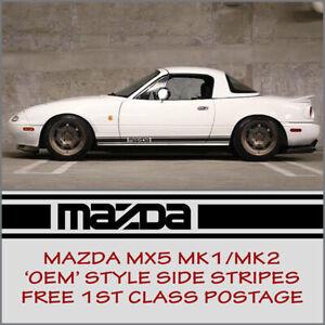 Mazda MX5 MazdaStyle Mk1 Mk2 Eunos Roadster Side Stripes Decal Vinyl Graphic