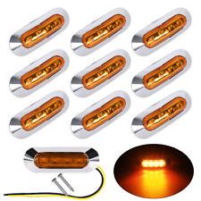 10 x Amber 4 LED Clearance Side Marker Light For Truck Trailer w/Chrome Housing