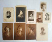 Antique & Vintage Photographs Photos Portraits of Ladies Woman B&W Lot of 10