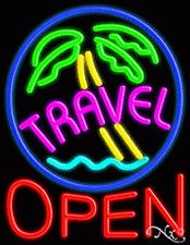 "Brand New ""Travel Open"" 31x24 W/Logo Real Neon Sign w/Custom Options 10463"