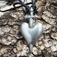 Broken Heart Sword Knife Stabbed through Pendant With Cotton Necklace # 071