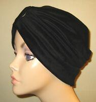Womens Black Knit Turban Chemo Hat Cancer Hat Hijab Alopecia Womens Turban