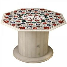 """30"""" White Marble Coffee Real Table Top With Stand Semi Precious Inlay Arts H3540"""