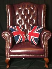1 Grandi Re fatto a mano stile Chesterfield in Pelle Tall WINGBACK Poltrona AMARANTO