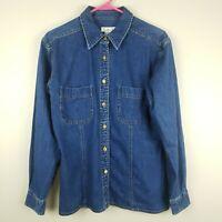 Talbots Women's Denim Jean Shirt Jacket Top Size Small Button Down Pockets