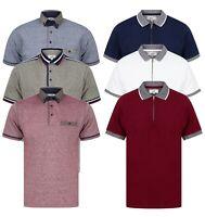 Mens Polo Shirt Short Sleeve Top Boys Cotton Pique Tee Tipping New Zip Golf