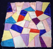 """17 Antique Hand Sewn 16"""" QUILTING Squares! Very Nice Stitching! Satin/Silk !"""