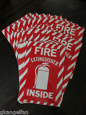 """(100-Signs) Fire Extinguisher Inside with Picture 6""""x9""""Sign,Self Adhesive Vinyl"""
