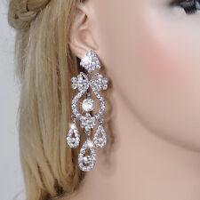 AIMO Wedding Bridal Chandelier Vase Dangle Earrings Clear Austrian Crystal Party
