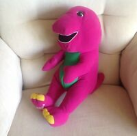 """PLAYSKOOL HASBRO Large Talking Barney Soft toy 16"""" tall Excellent Condition"""