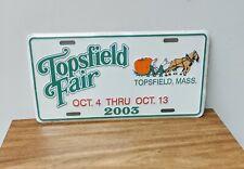Beautiful 2003 MASSACHUSETTS TOPSFIELD FAIR License Plate MA new in shrink wrap