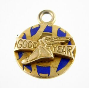 LGB 10k Yellow Gold and Plated Vermeil Sterling Silver Pendant Charm Good Year