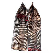 Chiffon Satin Ladies Womens Geometric Pattern Scarf Shawl Wrap Black/brown