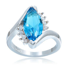 Fashion Women Jewelry Light Sapphire 925 sterling silver Ring M375 Size 7