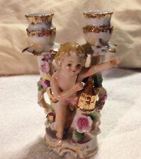 Vintage Victorian Cherub Dual Porcelain Tulip Candleholder Signed