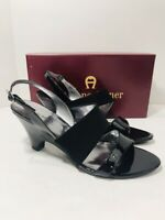 Etienne Aigner Women's ELLIE Black Leather Slingback Shoes Stacked Heels 9.5M