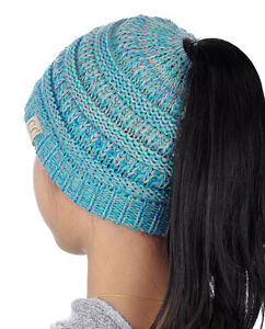 Kids CC Ponytail Beanie Children Soft Cable Knit Messy High Bun CC Beanie Hat!