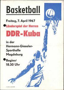 Programm 07.04.1967 DDR - Kuba in Magdeburg, Basketball