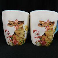 Magenta Spring Bunny Large Coffee Mug Tea Cups Set of 2 Crackle Pattern GUC