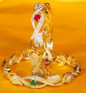 Gold Plated Indian Diamontic Bangles cz Bracelet Traditional Women's Jewelry