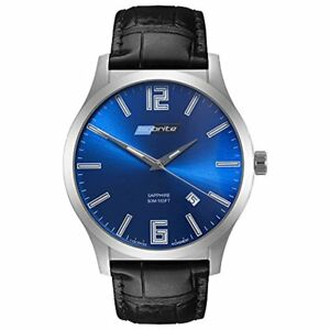 Isobrite Grand Slimline Series Blue Dial Tritium Watch with Black Leather Band