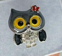 Owl brooch black yellow enamel crystal rhinestone vintage style pin in gift box