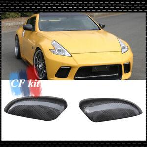 Carbon Fiber Car Side View Mirror Cover Trim Cap For 2009-2019 Nissan 370Z Z34