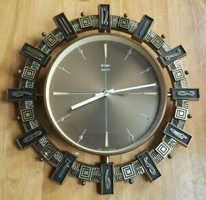 Metamec Quartz Sunburst Vintage Wall Clock