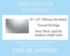 """2 x 16"""" x 12"""" Inch 3mm Thick Oblong Rectangular Cake Board"""